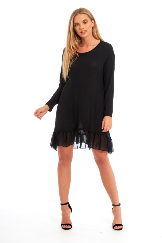Black Long Sleeve Ruffle Swing Dress