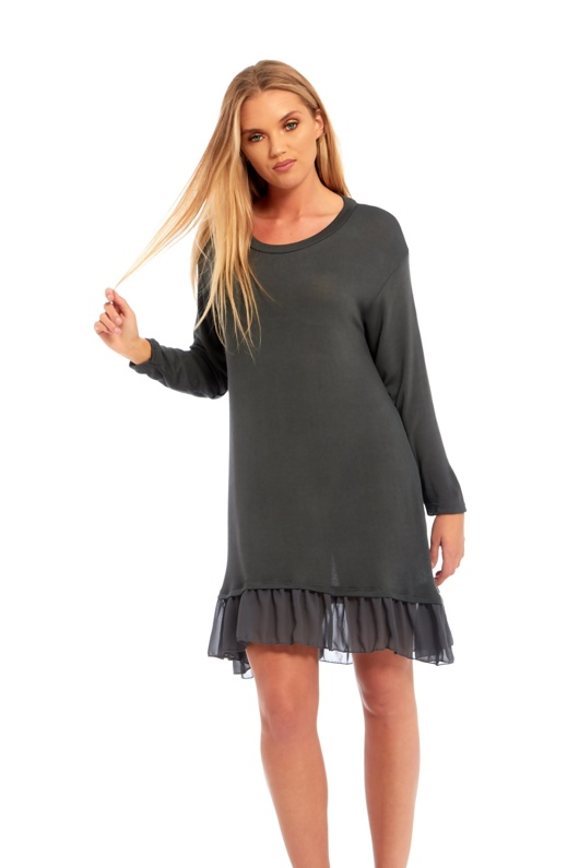 Grey Long Sleeve Ruffle Swing Dress