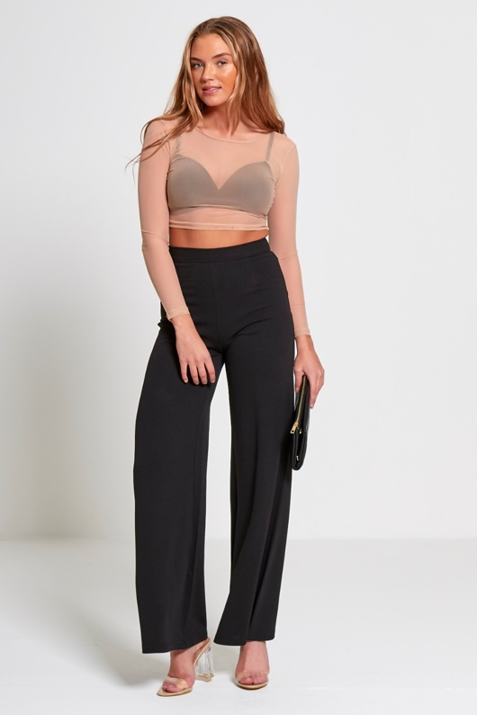 Black High Waist Wide Leg Trouser