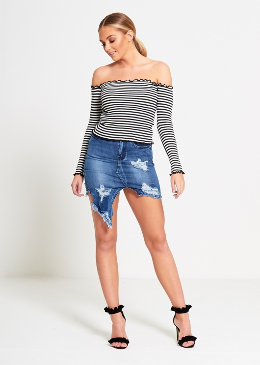 Denim Asymmetric Distressed Hem Skirt