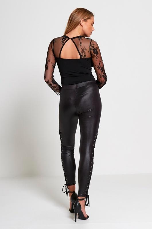 Black Coated Lace Up Hem Leggings