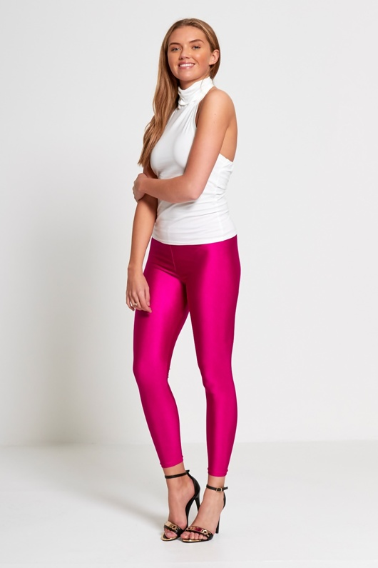 Fuchsia Shiny Disco Leggings