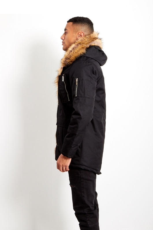 833ff2eec3f39 Mens Black Oversized Faux Fur Hooded Parka Coat