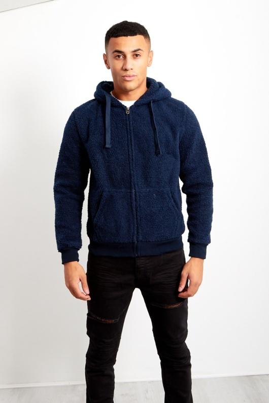 Mens Navy Borg Hood Jacket