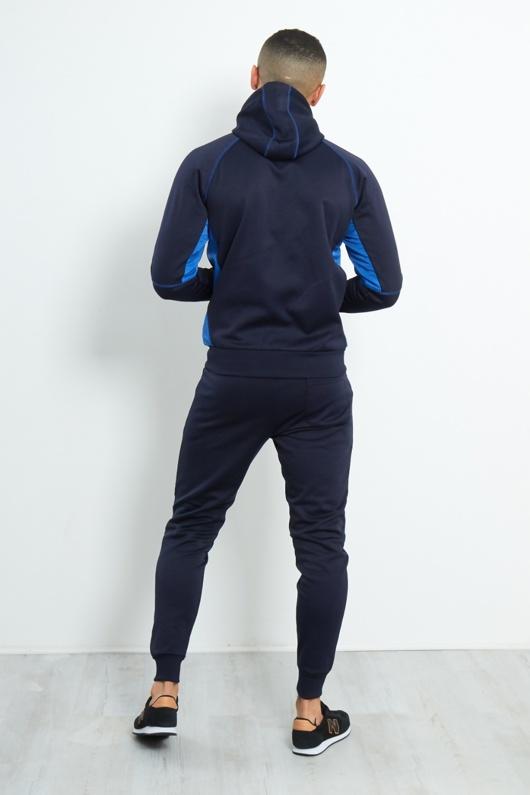 3637-Mens Navy Contrast Zip Side Panel Skinny Fit Tracksuit