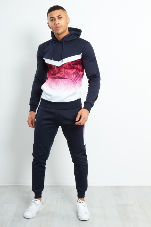 Navy Slim Fit Two Tone Rose Print Tracksuit