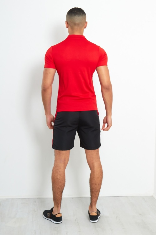 Red and Black Panel Polo Shorts Set