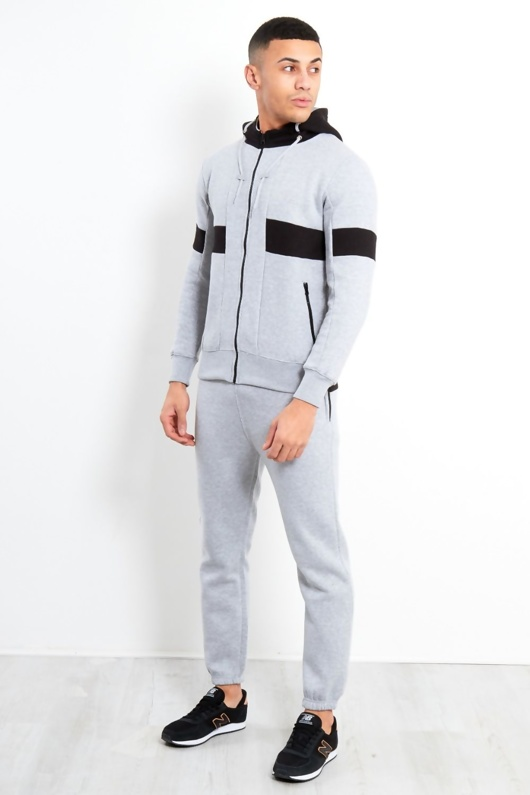 Grey and Black Contrast Panel Hood Tracksuit
