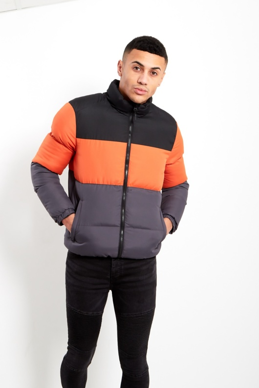 Mens Orange and Charcoal Puffer Jacket