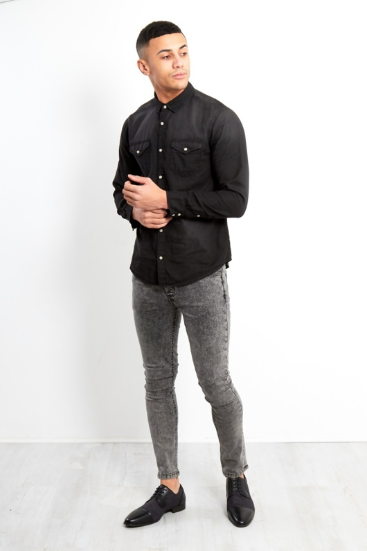 BLACK WASHED DENIM LONG SLEEVE SHIRT