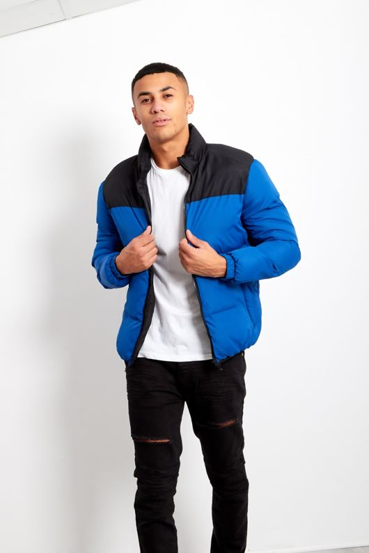 Blue Mens Contrast Panel Padded Jacket