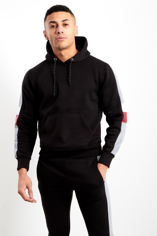 Mens Black Tricot Skinny Fit Tracksuit