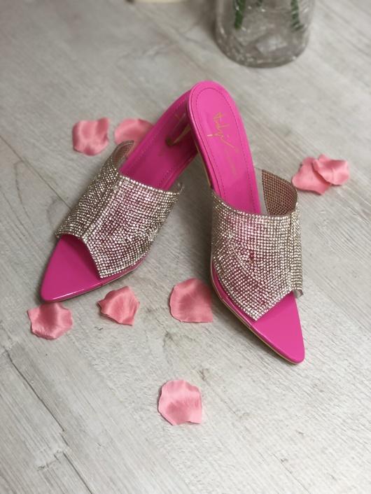 Pink Diamante Pointed Toe Heels