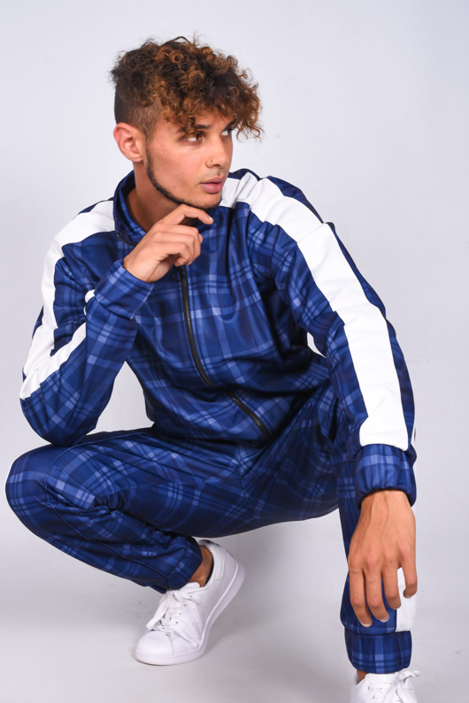 Mens Blue Checked Funnel Stripe Skinny Fit Tracksuit