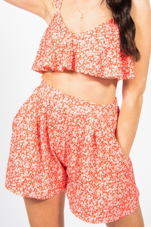 Red Printed Crop Top and Flippy Shorts Set