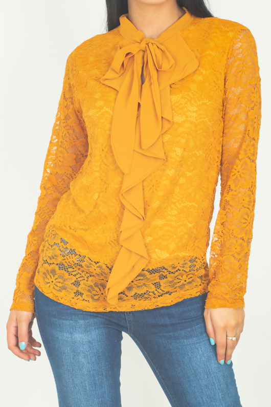 Mustard Floral Lace Overlay Ruffle Blouse