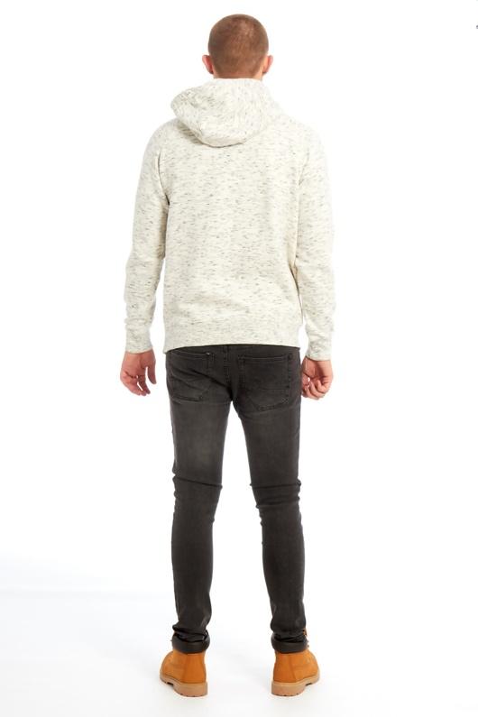 Mens Cream Space Dye Hooded Top