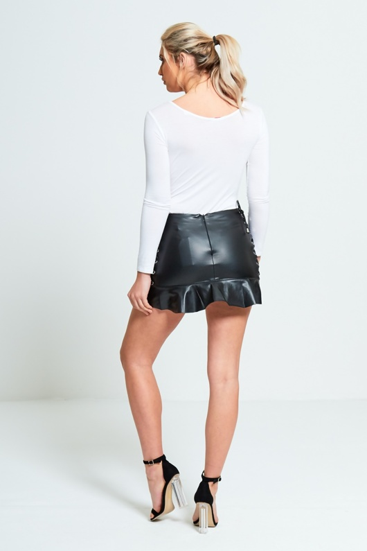 Black Pu Side Lace Up Frill Hem Mini Skirt