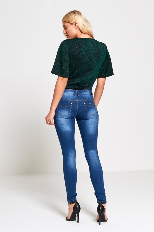 Khaki Extreme Plunge Glitter Bodysuit