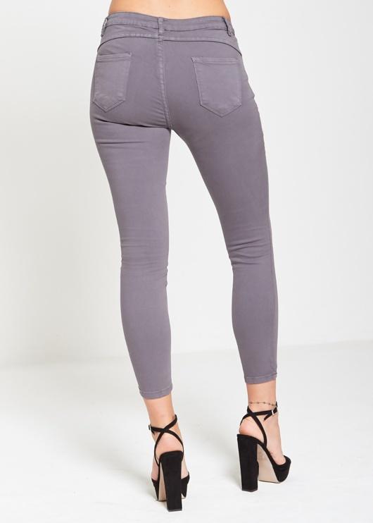 Grey Pearl Detail Embellished Skinny Jeans