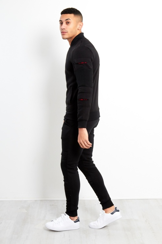 Mens Black Red Patch Cut Tracksuit