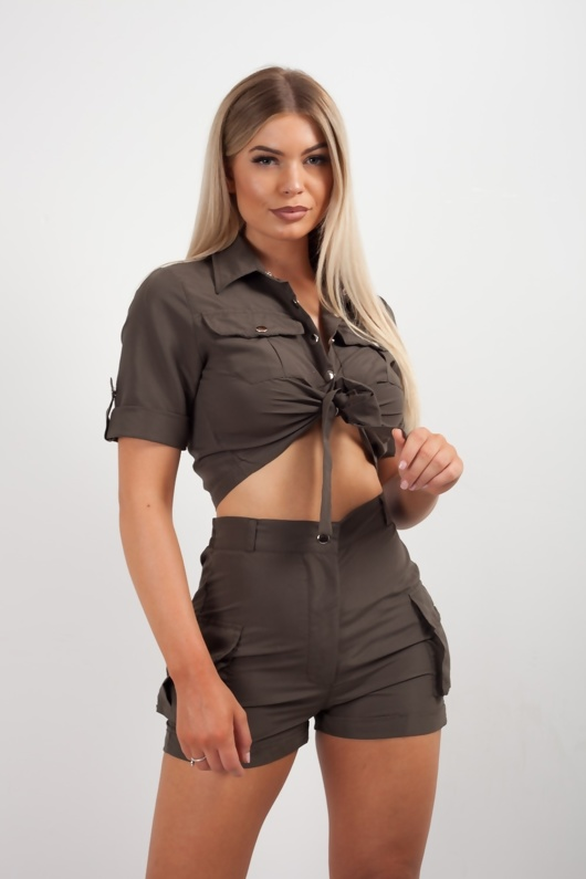 Khaki Cargo Crop Shirt and Shorts Co-ord Set