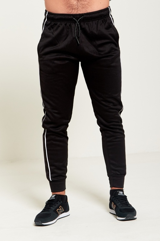 Mens Black Piping Detail Jogging Bottom