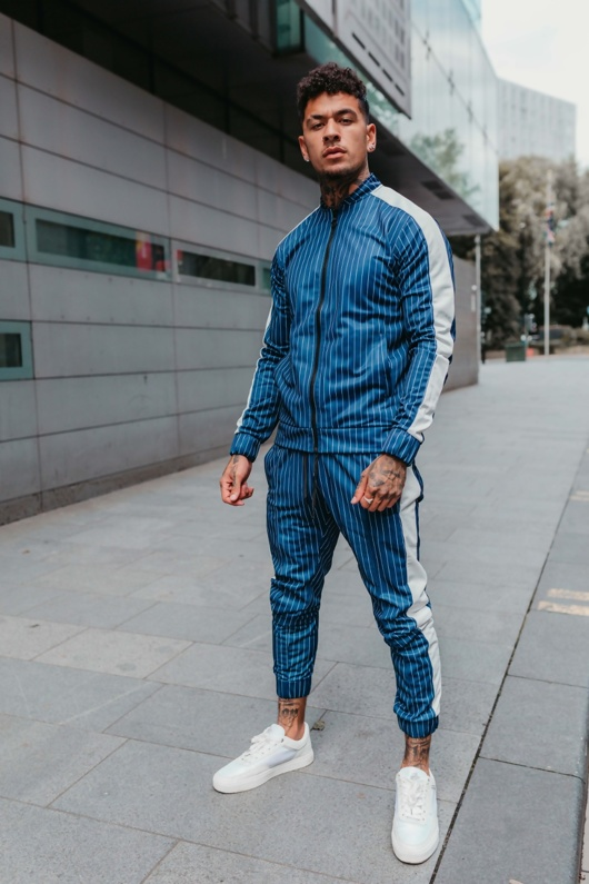 Mens Blue And White Pinstripe Skinny Fit Tracksuit