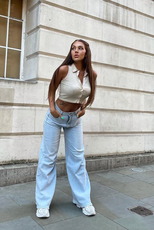 Light Denim High Rise Wide Leg Jeans