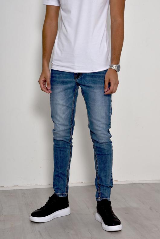 Mens Light Denim Stonewash Slim Jeans