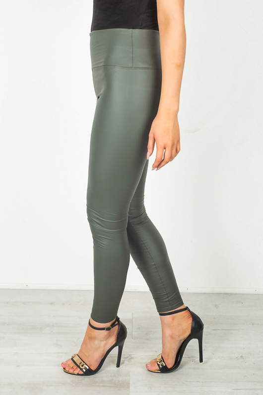 Khaki High Waist PU Look Leggings