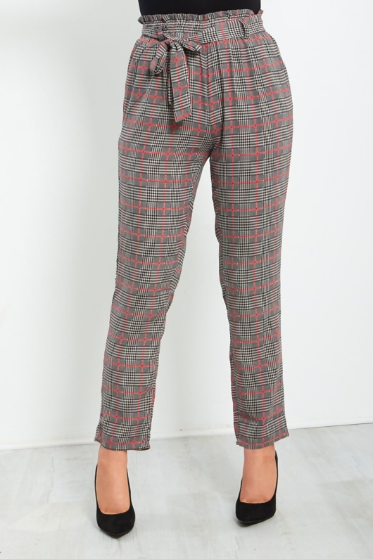 Black with Red Checked Frill Tie Trouser