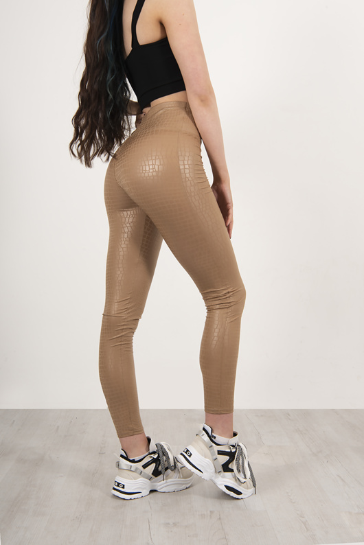 Beige Faux Leather Croc Print High Waist Leggings
