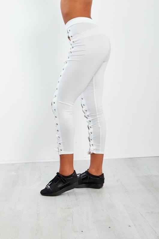 White Lace Up High Waist Leggings