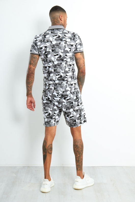 LP-90-Mens Grey Camo Polo Zipper Shorts Set