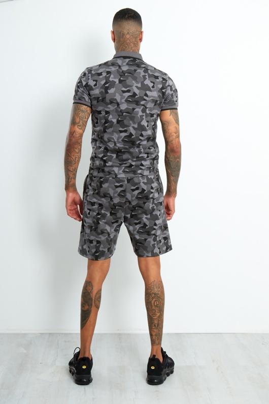 LP-91-Mens Charcoal Camo Polo Zipper Shorts Set