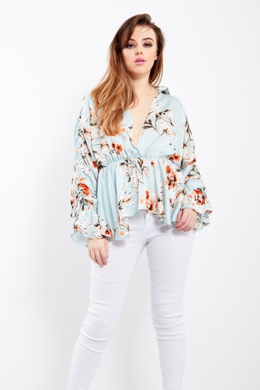 Mint Floral Top With Frill Sleeves