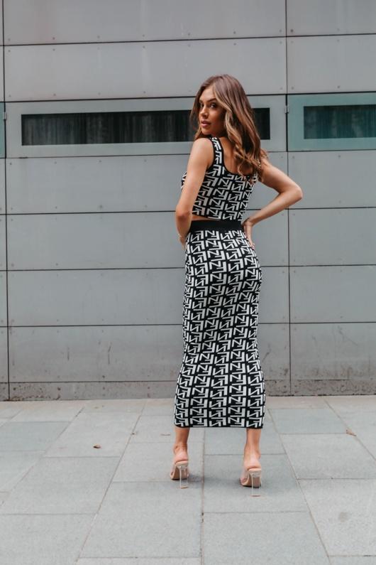White Printed Crop Top And Midi Pencil Skirt Set