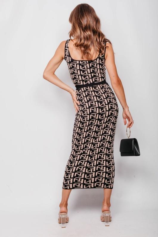 Beige Printed Crop Top And Midi Pencil Skirt Set