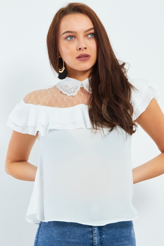 Pearl Embroidery Collar Frill Blouse
