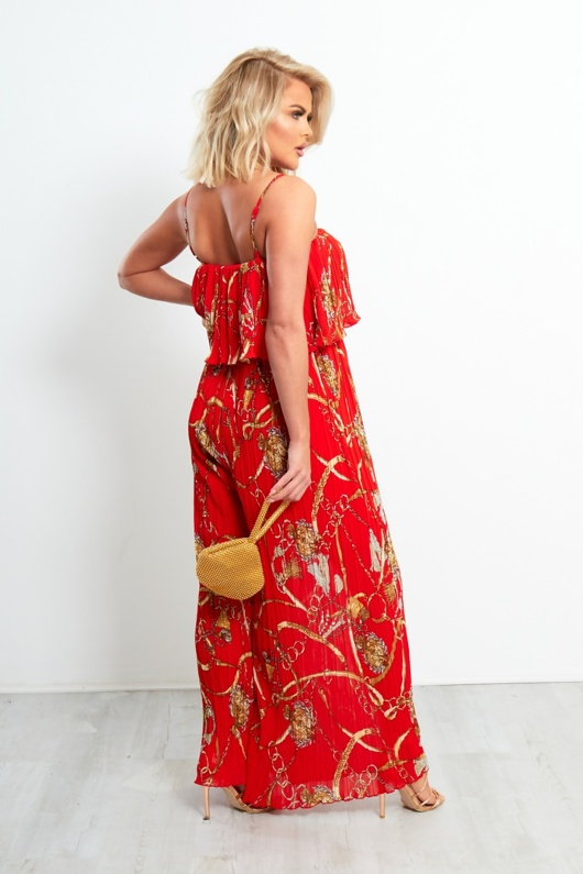 Red Floral Ruffle Trim Pleated Jumpsuit