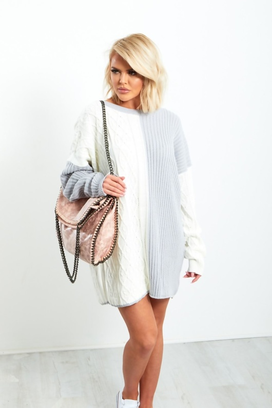 J1045-White and Grey Oversized Knitted Dress
