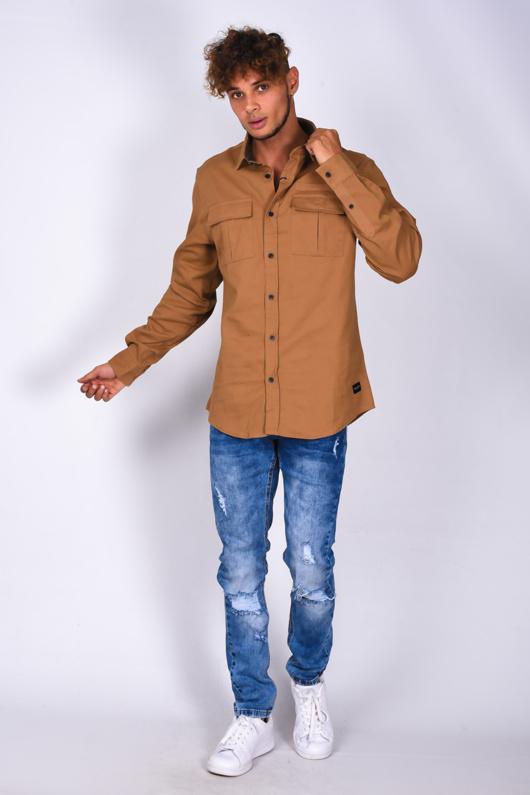 Mens Camel Pocket Front Long Sleeve Shirt