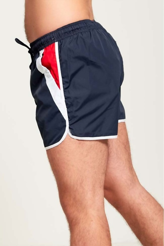 Mens  Navy Swim Shorts With Red And White Side Panel Detailing