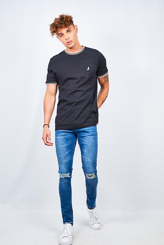 Mens Black Contrast Sports Stripe Rib Detail T-shirt