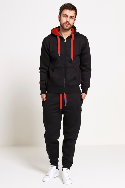 Mens Black With Red Contrast Tracksuit