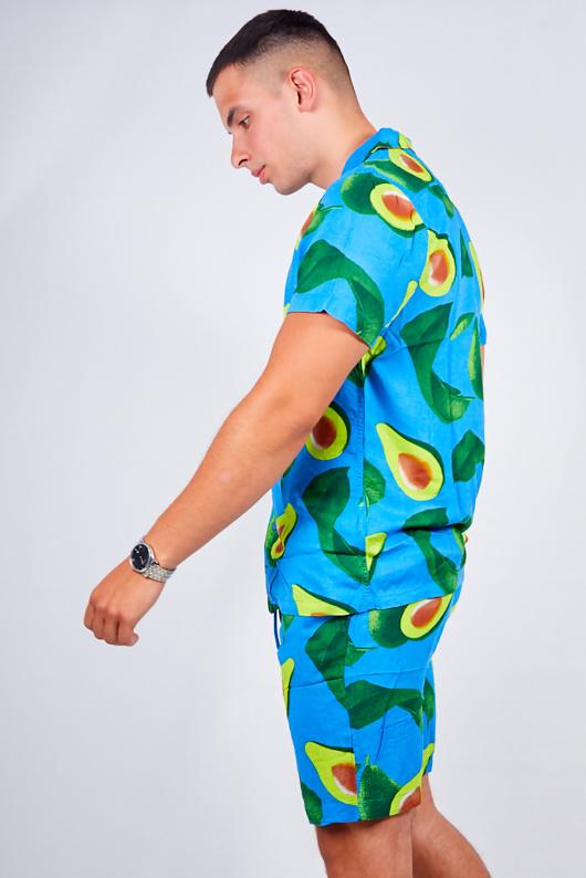Mens Blue Avocado Print Shirt And Shorts Set