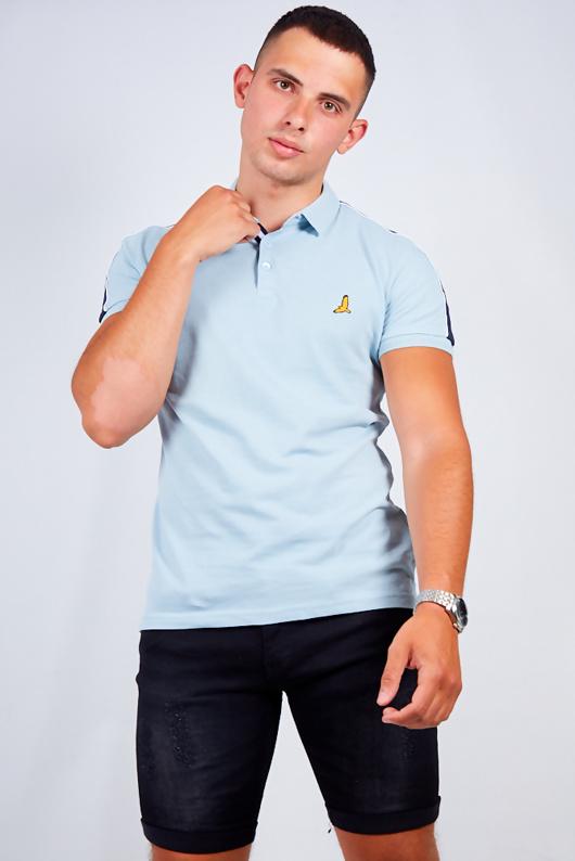 Mens Blue Contrast Stripe Detail Polo Shirt