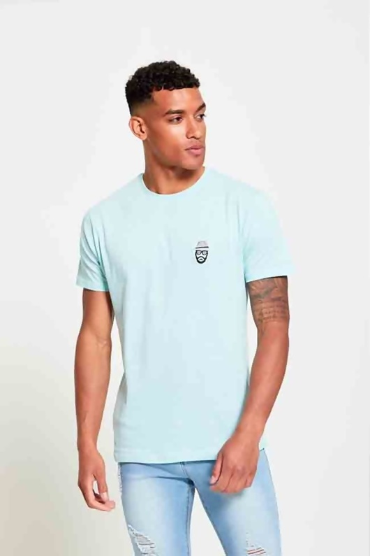 Mens Blue Gentleman Crew Neck T-Shirt
