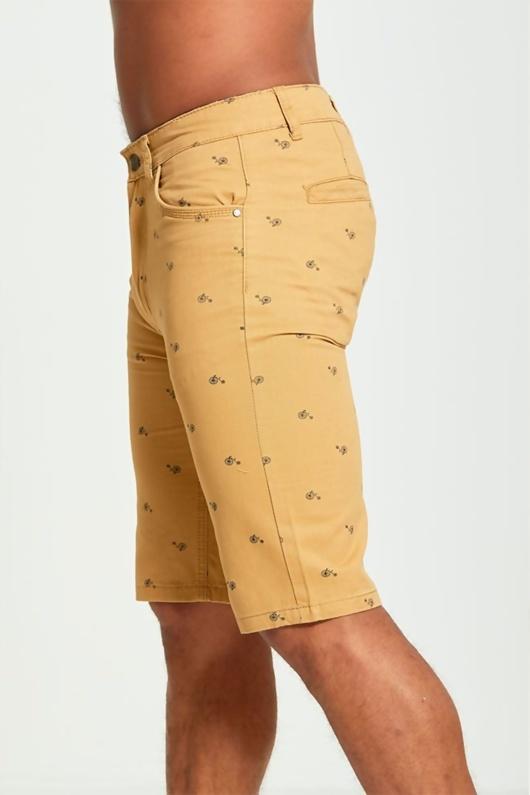Mens Camel Bicycle Print Chino Shorts